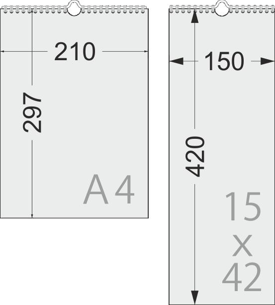 Размеры перекидных календарей МИНИ